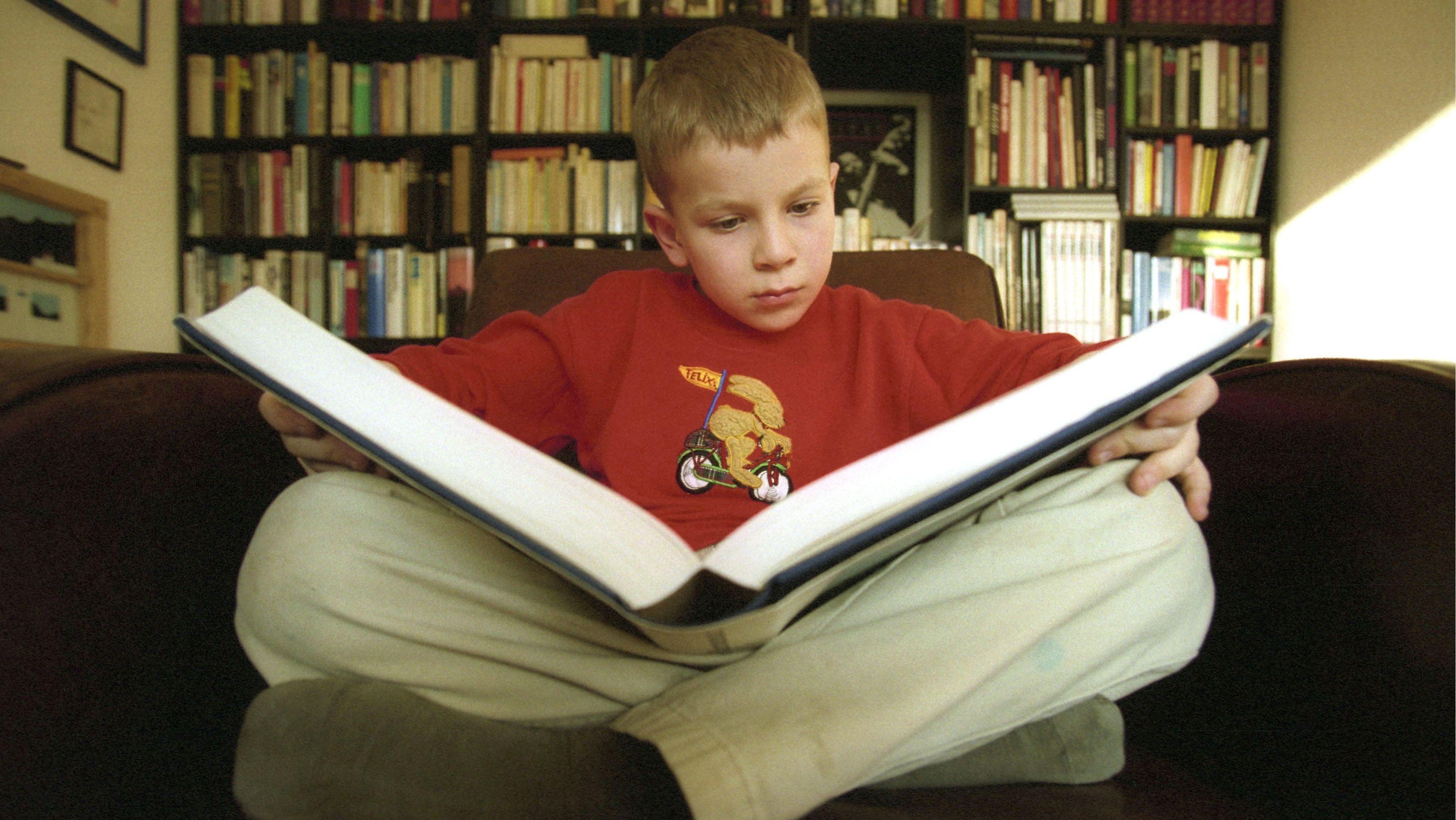 Lesender Junge vor Bücherwand