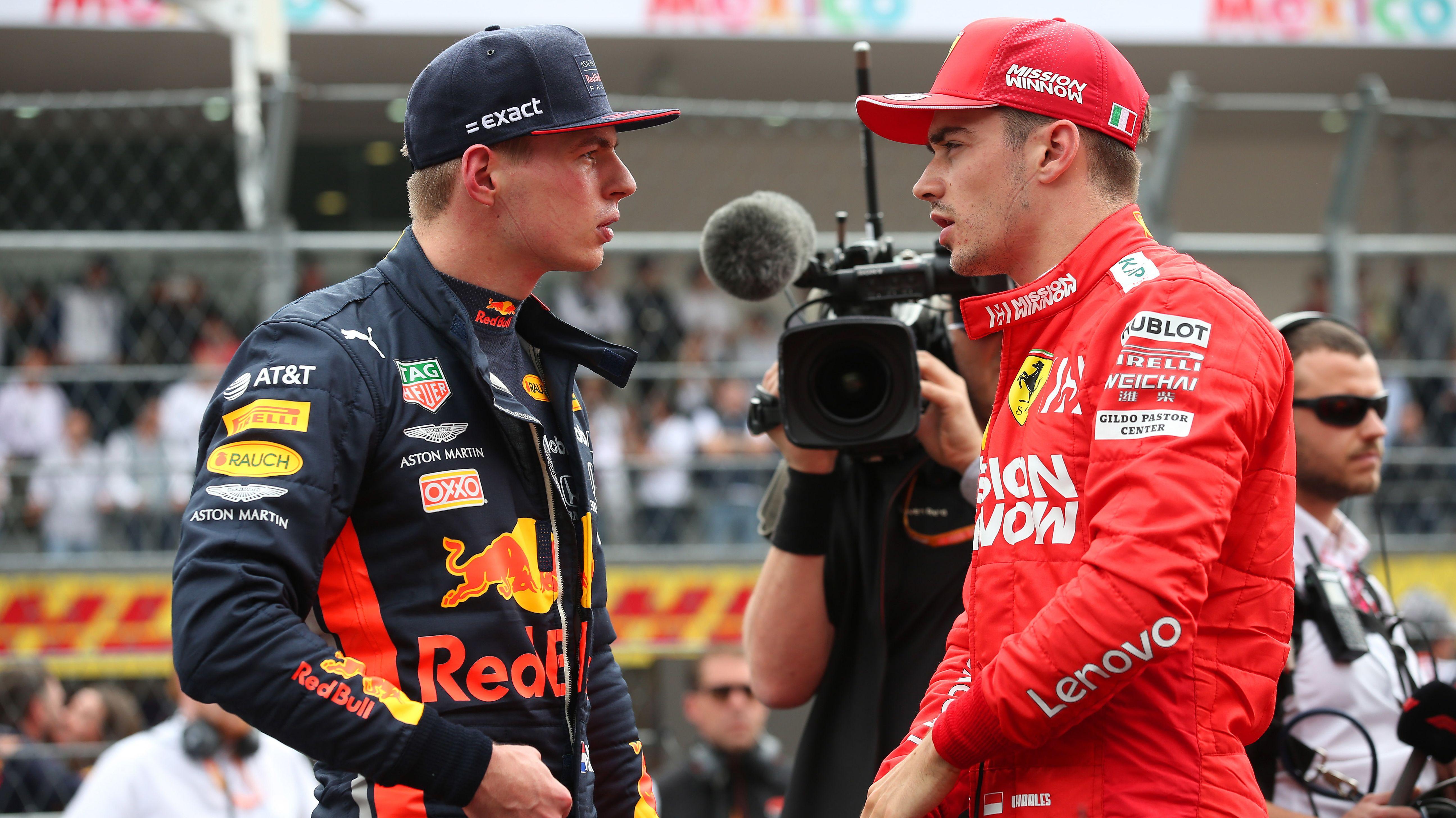 Max Verstappen (li.) und Charles Leclerc