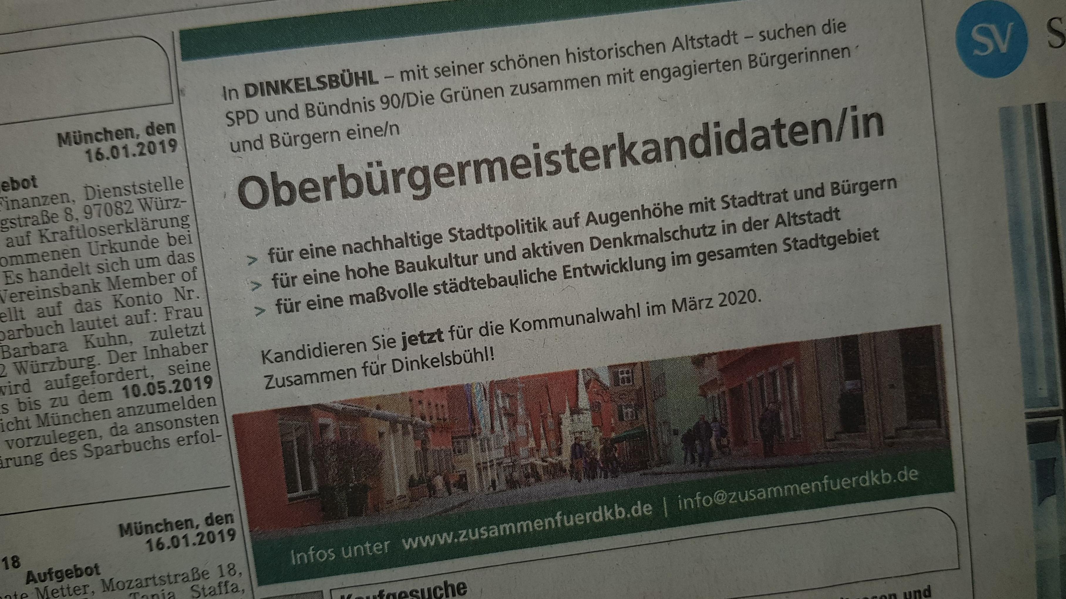 Suchanonnce der SPD, Grünen und einiger Bürger für einen OB-Kandidaten in Dinkelsbühl in der SZ