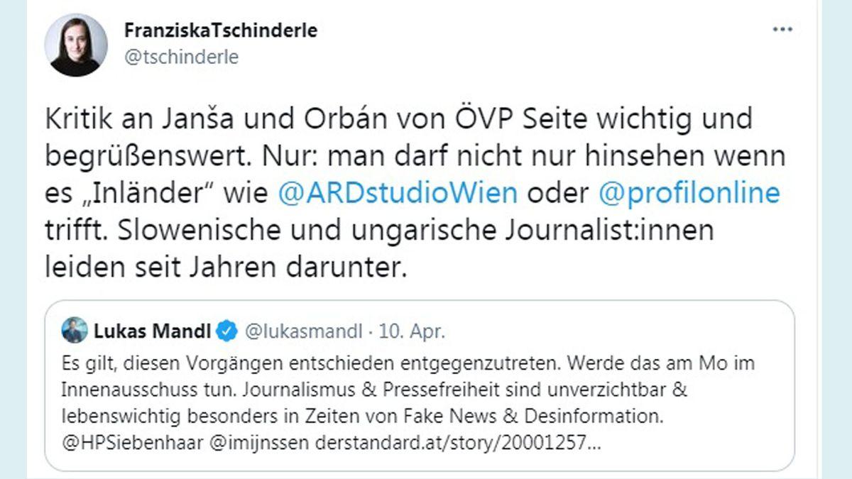 Die Journalistin selbst, legt den Fokus auf die Situation der JournalistInnen in den jeweiligen Ländern. Screenshot: twitter.com/tschinderle