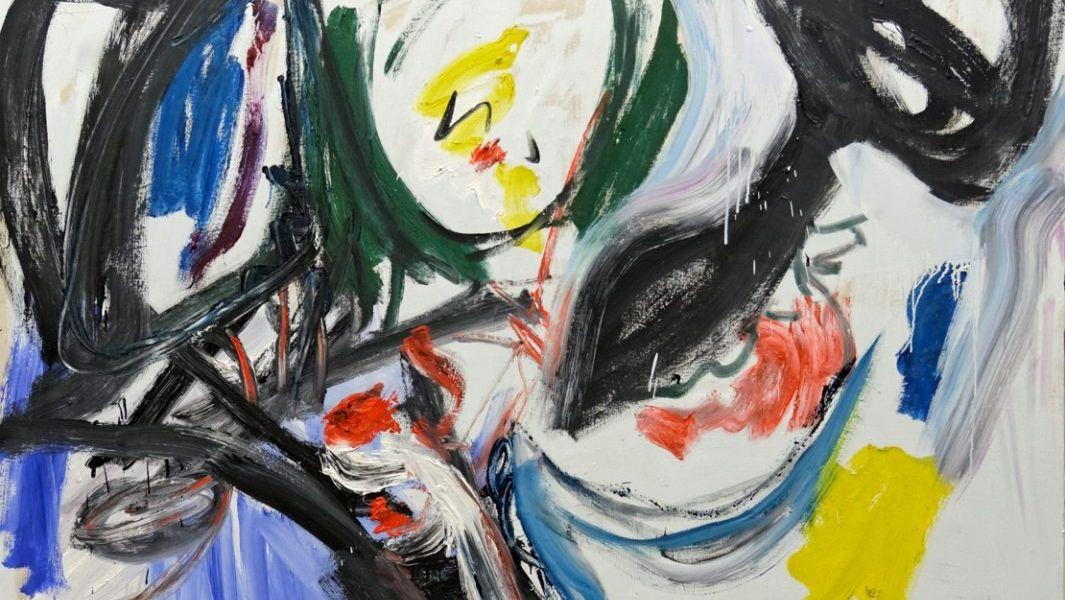 Expressives Gemälde mit Pinselstrichen in Schwarz, Weiß, Gelb, Rot und Grün.