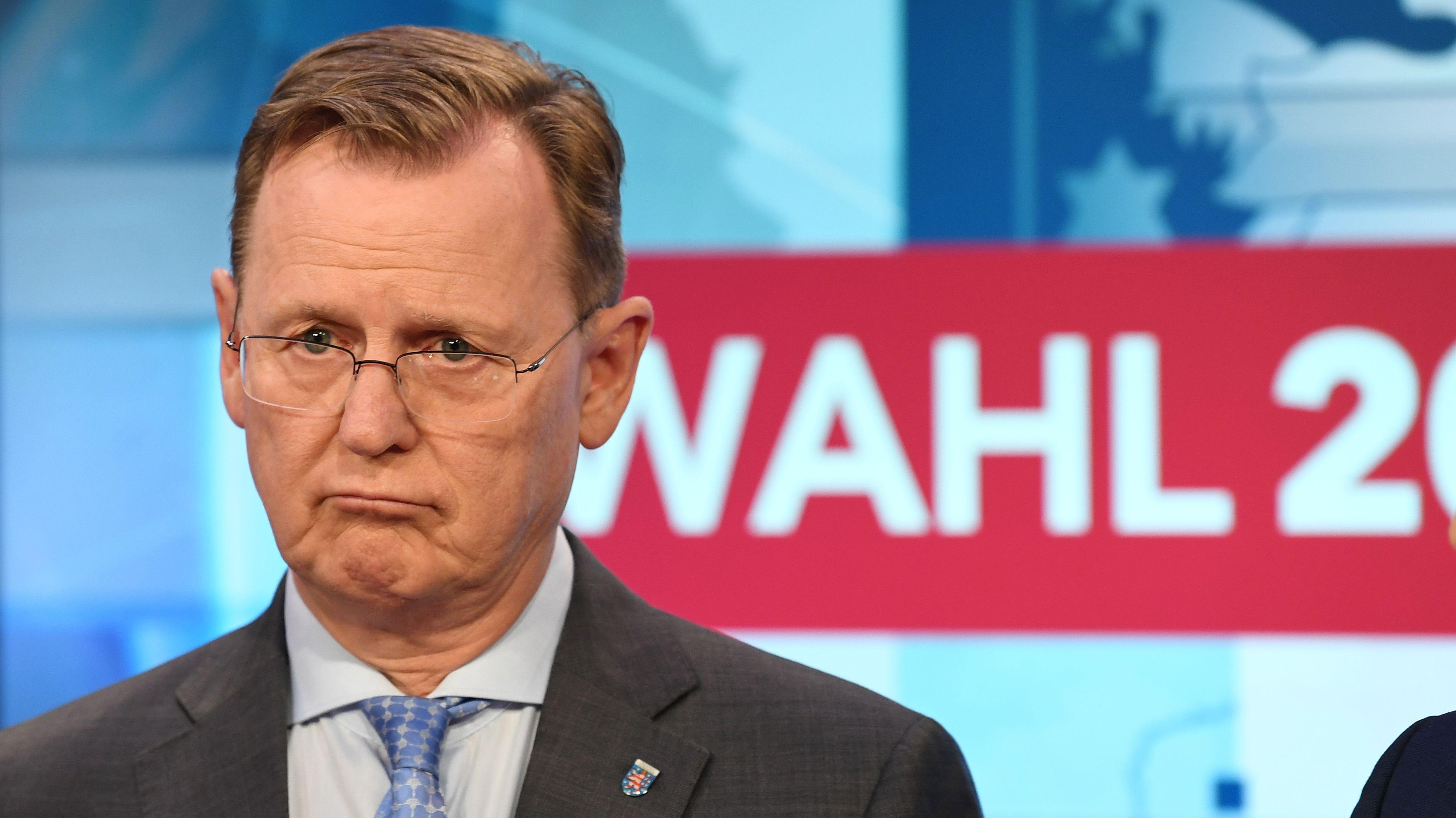 Thüringens Ministerpräsident Bodo Ramelow im Wahlstudio zum Ergebnis der Landtagswahl in Thüringen.