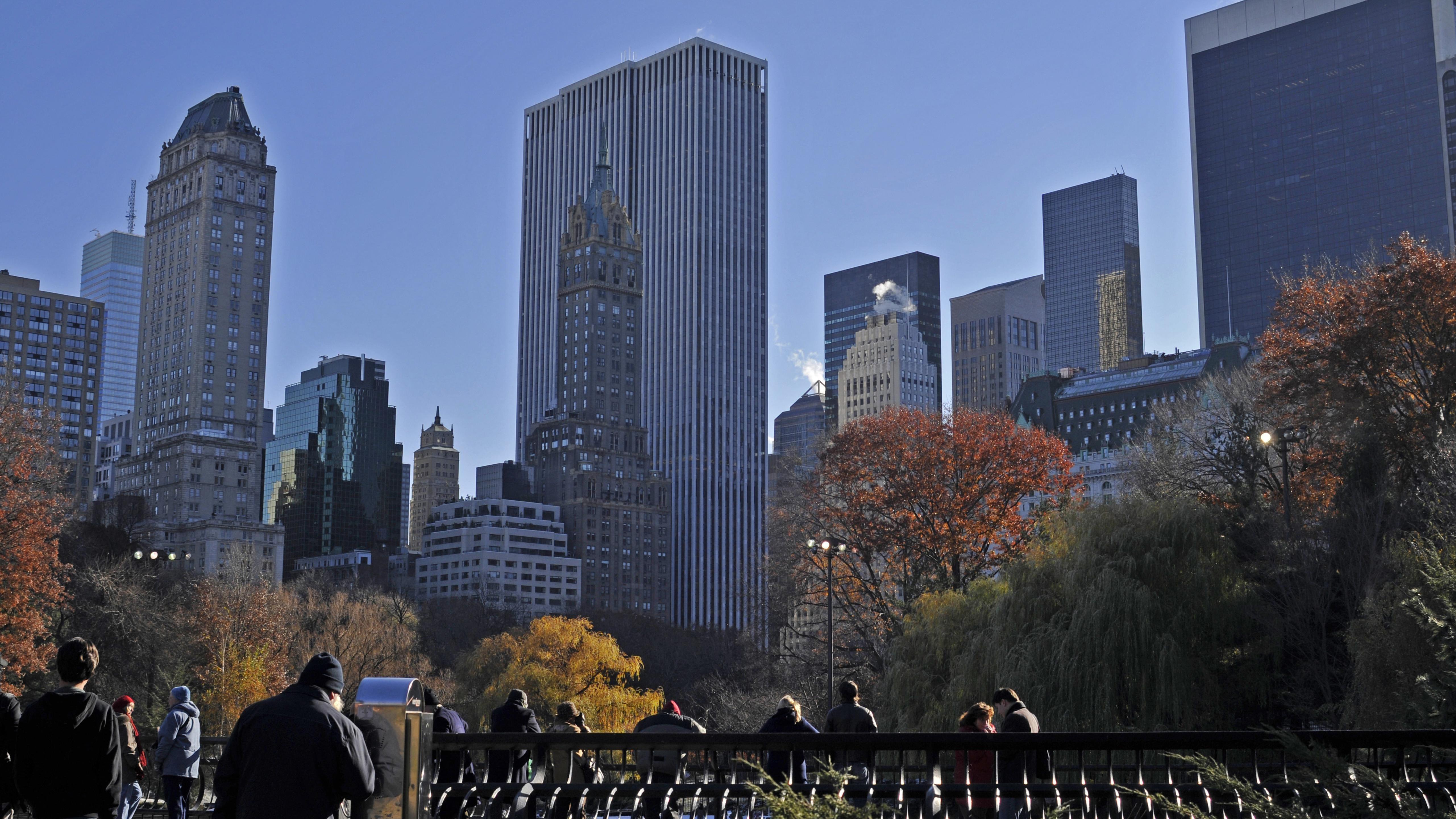Blick auf Skyline am Central Park Manhattan, New York, USA