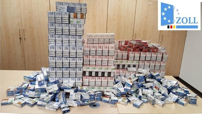 Sichergestellte Zigaretten in Unterfranken