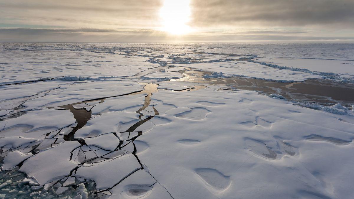 Eisschollen in der Arktis bei Sonnenaufgang
