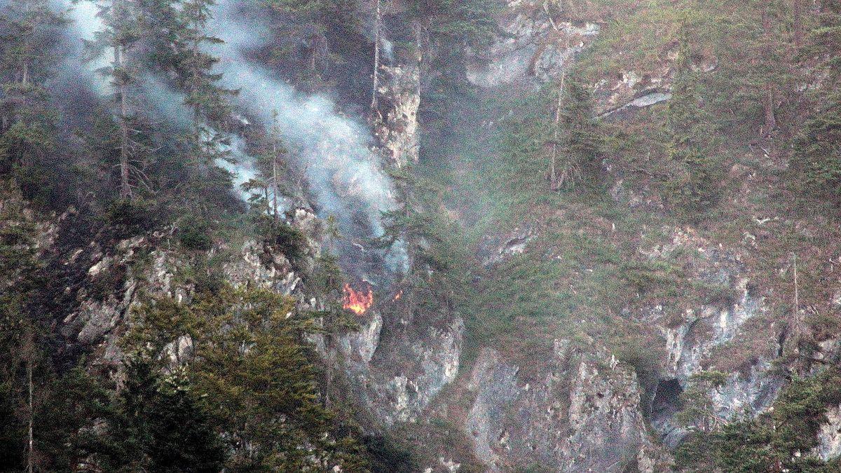 Waldbrand im Jahr 2018 im Bergwald im Inntal.