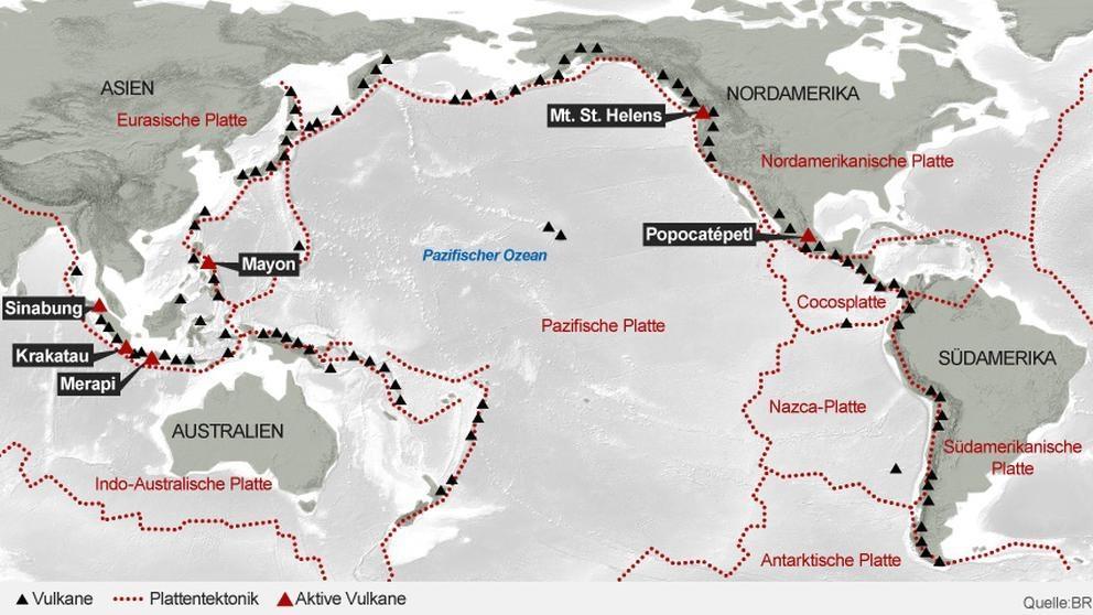 """Rund um den """"Pazifischen Feuerring"""" stoßen Erdplatten zusammen: Hier stößt die australisch-indische mit der eurasischen Platte zusammen."""
