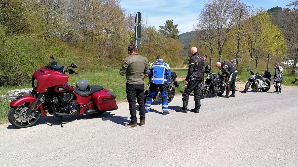 Motorrad-Kontrollaktion der Polizei.