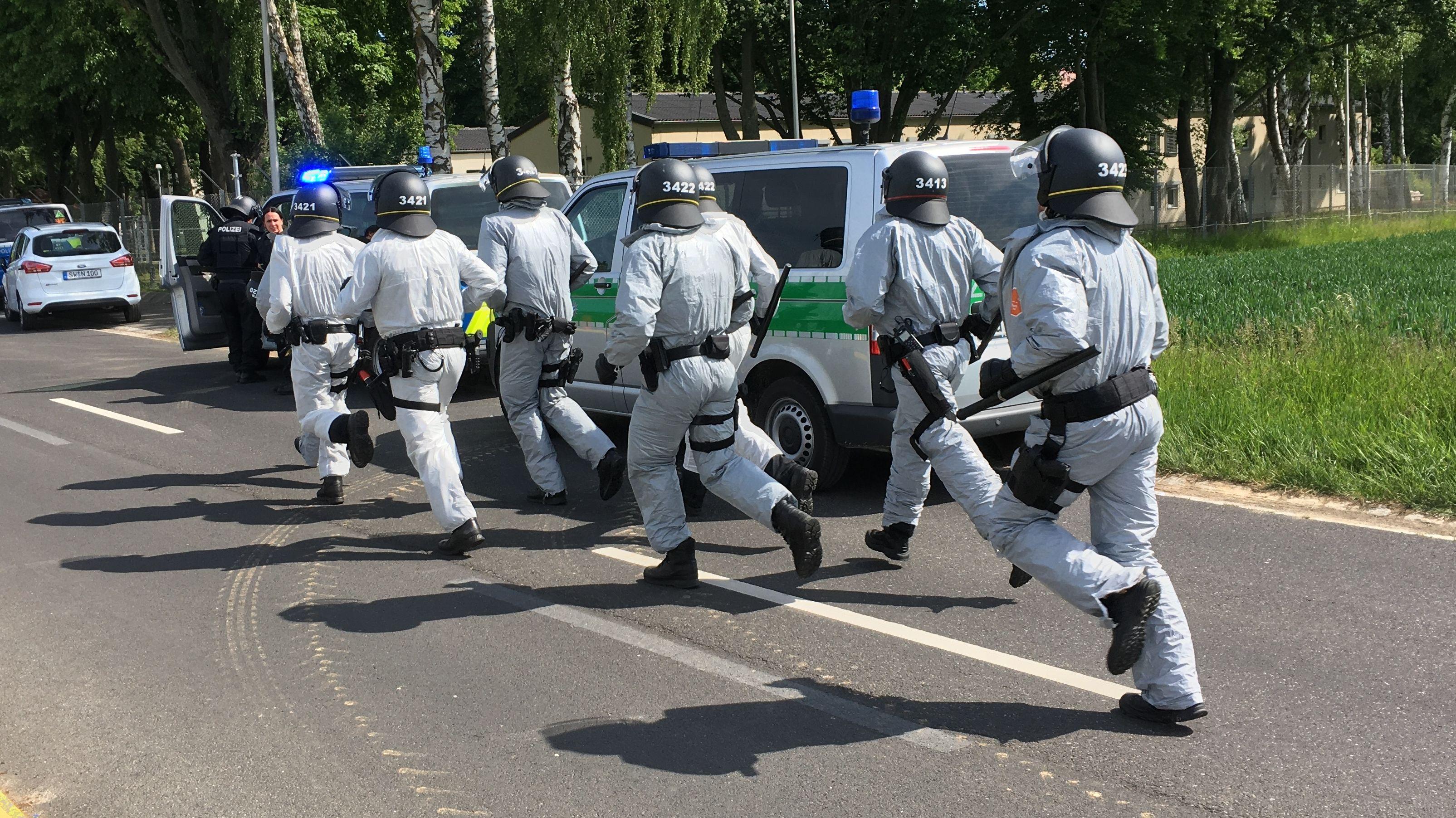 Großeinsatz der Polizei im Ankerzentrum Geldersheim am 18.05.2020
