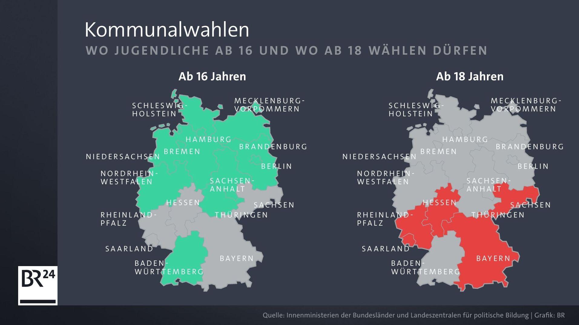 Deutschlandübersicht, wo in Deutschland Jugendliche bei Kommunalwahlen ab 16 Jahren und wo ab 18 Jahren wählen dürfen.