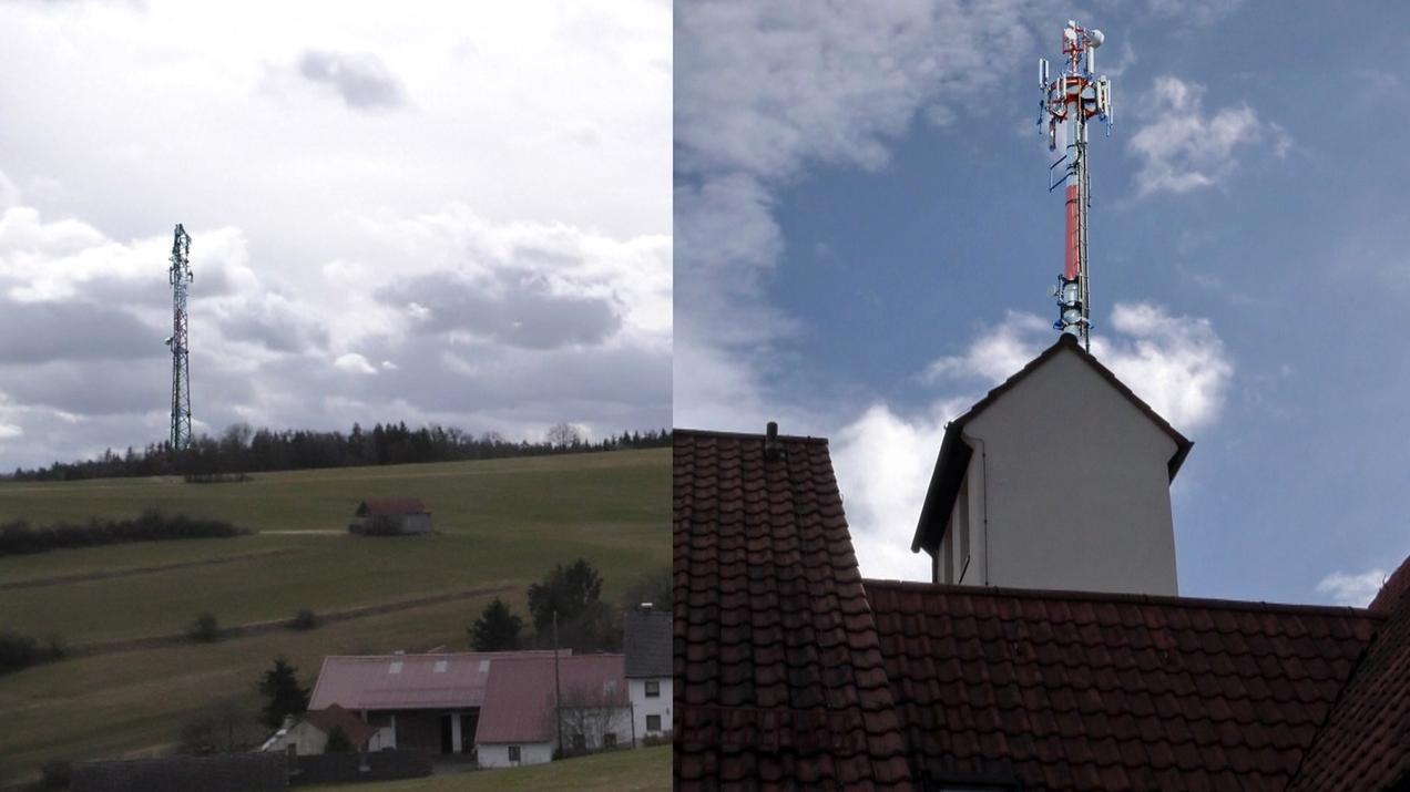 Fotomontage der beiden möglichen Handymasten in Rögling im Landkreis Donau-Ries