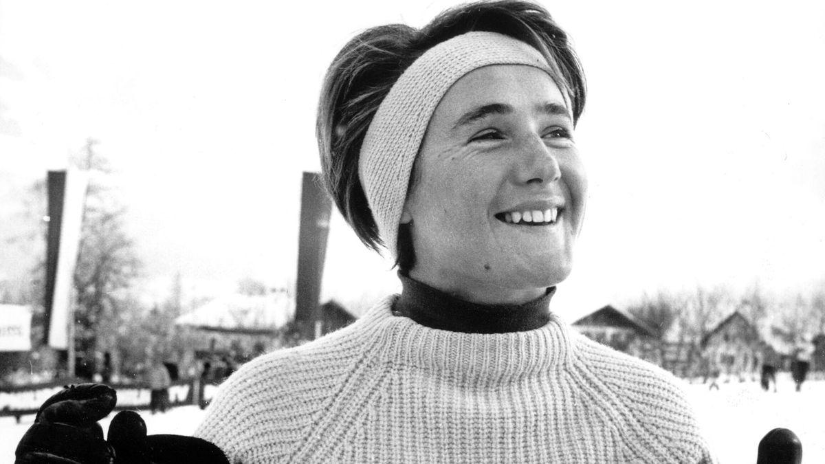 Die Oberstaufenerin Heidi Biebl Mitte Januar 1960 bei den Hahnenkamm-Rennen in Kitzbühel.