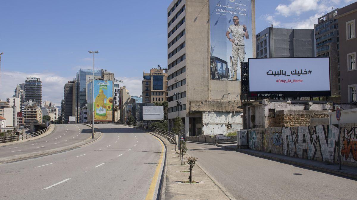 Leere Straßen in Beirut nach Ausgangsbeschränkungen wegen des Corona-Virus
