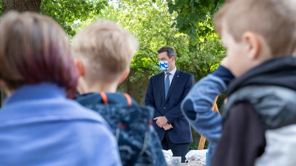 Ministerpräsident Söder im Kindergarten   Bild:picture alliance/Daniel Karmann/dpa