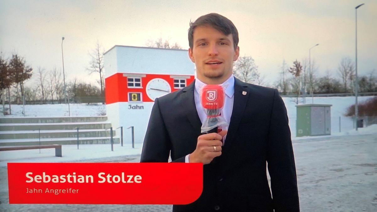 Jahn-Spieler Sebastian Stolze in einer Einspielung beim virtuellen Neujahrsempfang.