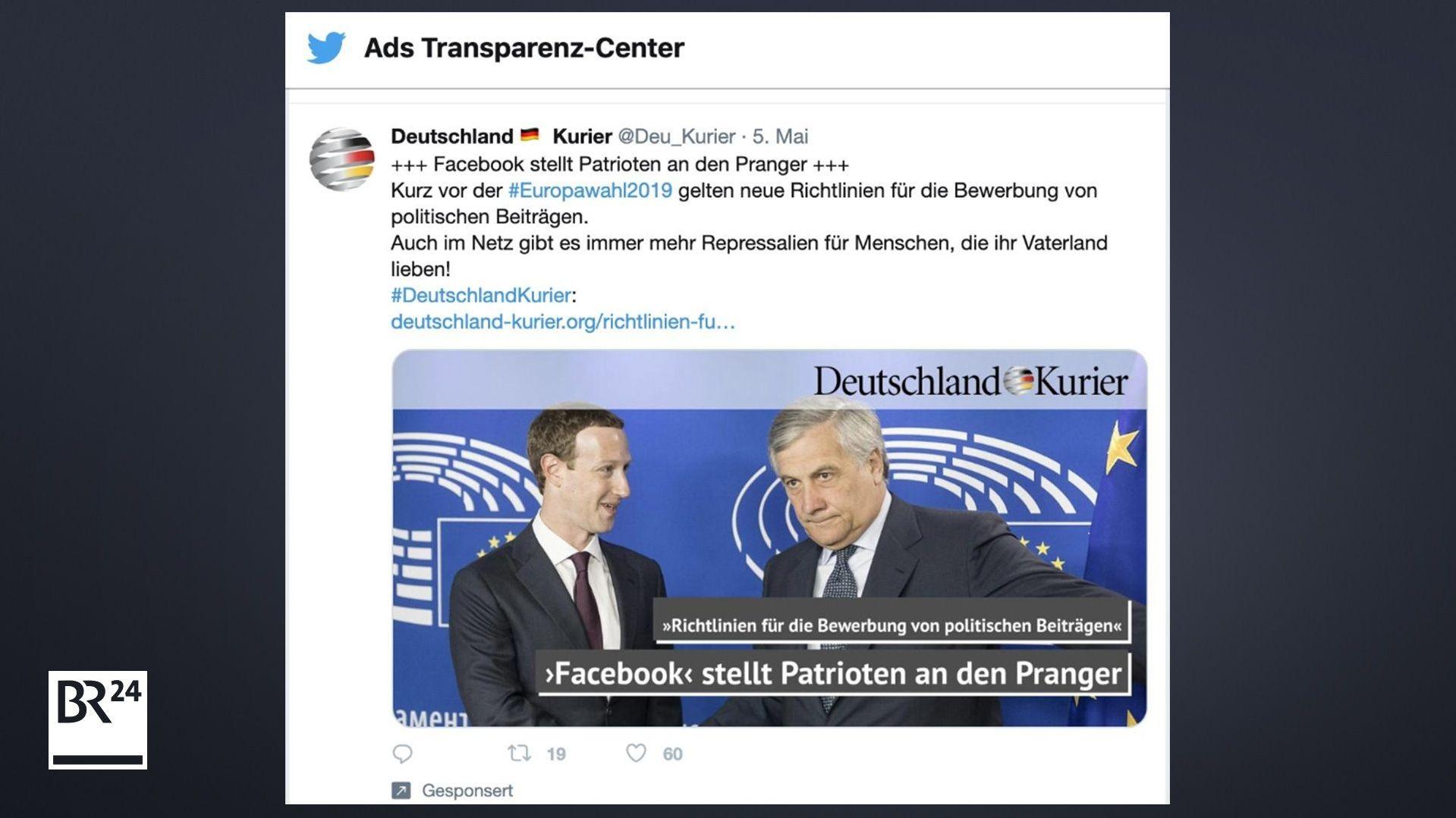 """Ein Beitrag der AfD-nahem Wochenzeitung """"Deutschland Kurier"""", die nicht als politischer Werbetreibender geführt wird."""