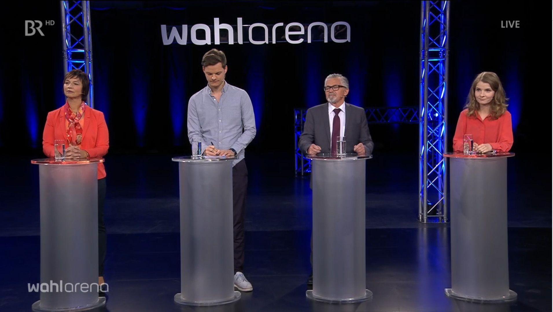 Ulrike Müller (Freie Wähler), Phil Hackemann (FDP), Bernhard Zimniok (AfD) und Kathrin Flach Gomez (Die Linke)