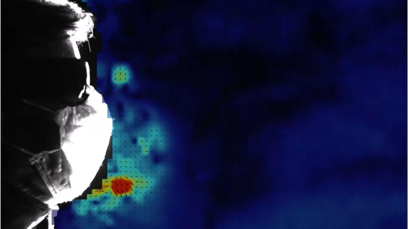 Aufnahme einer Wärmebildkamera: Strömungsexperiment mit Mundschutz zum Coronavirus