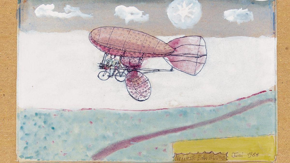 """Ein Entwurf des da schon 85-jährigen Gustav Mesmer - er schmückt das Albumcover der """"Musik für Flugräder"""""""