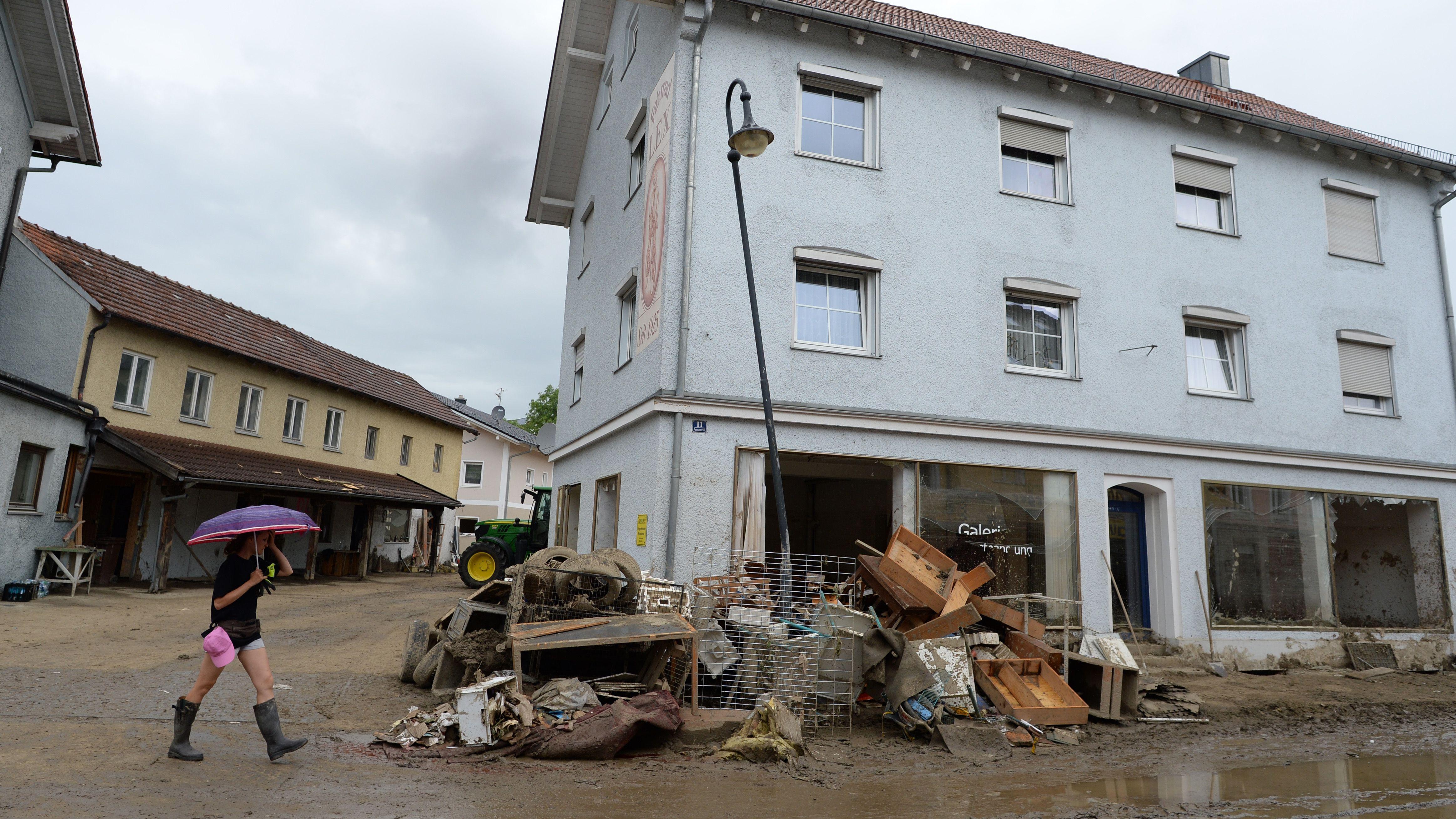 Von der Flut im Jahr 2016 beschädigtes Gebäude in Simbach am Inn