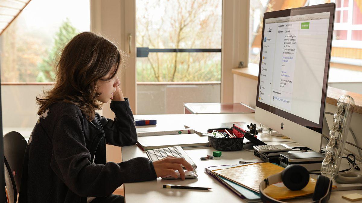 Ein Schüler macht zuhause am PC seine Hausaufgaben.