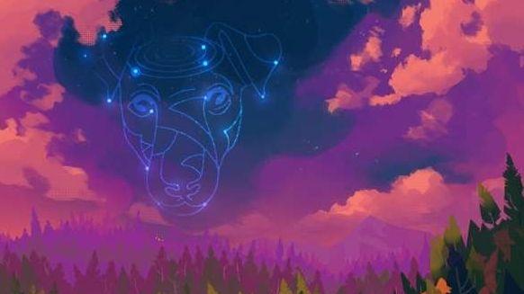 Ausschnitt aus dem neuen Album-Cover mit einem Sternbild Hund vor einem Wolkenhimmel in lila und rosa Farben