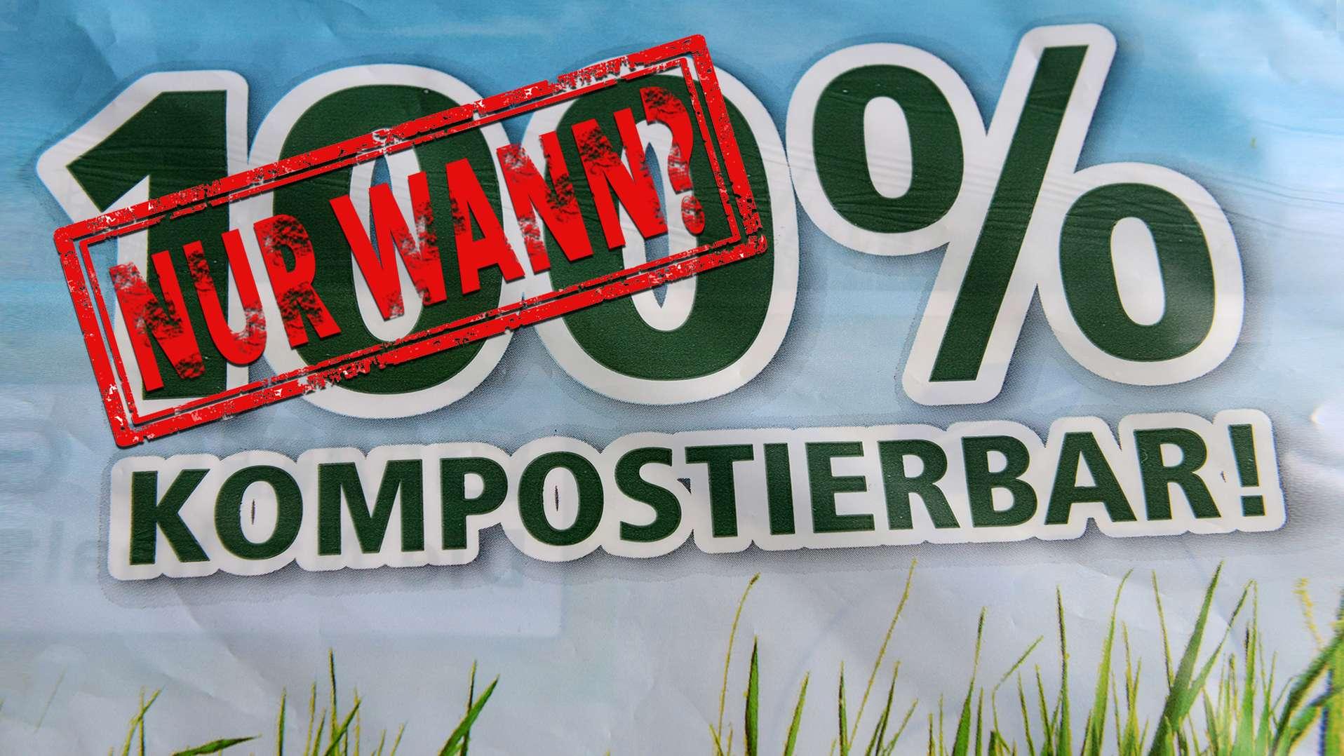 Ausschnitt einer kompostierbaren Plastiktüte aus Biokunststoff