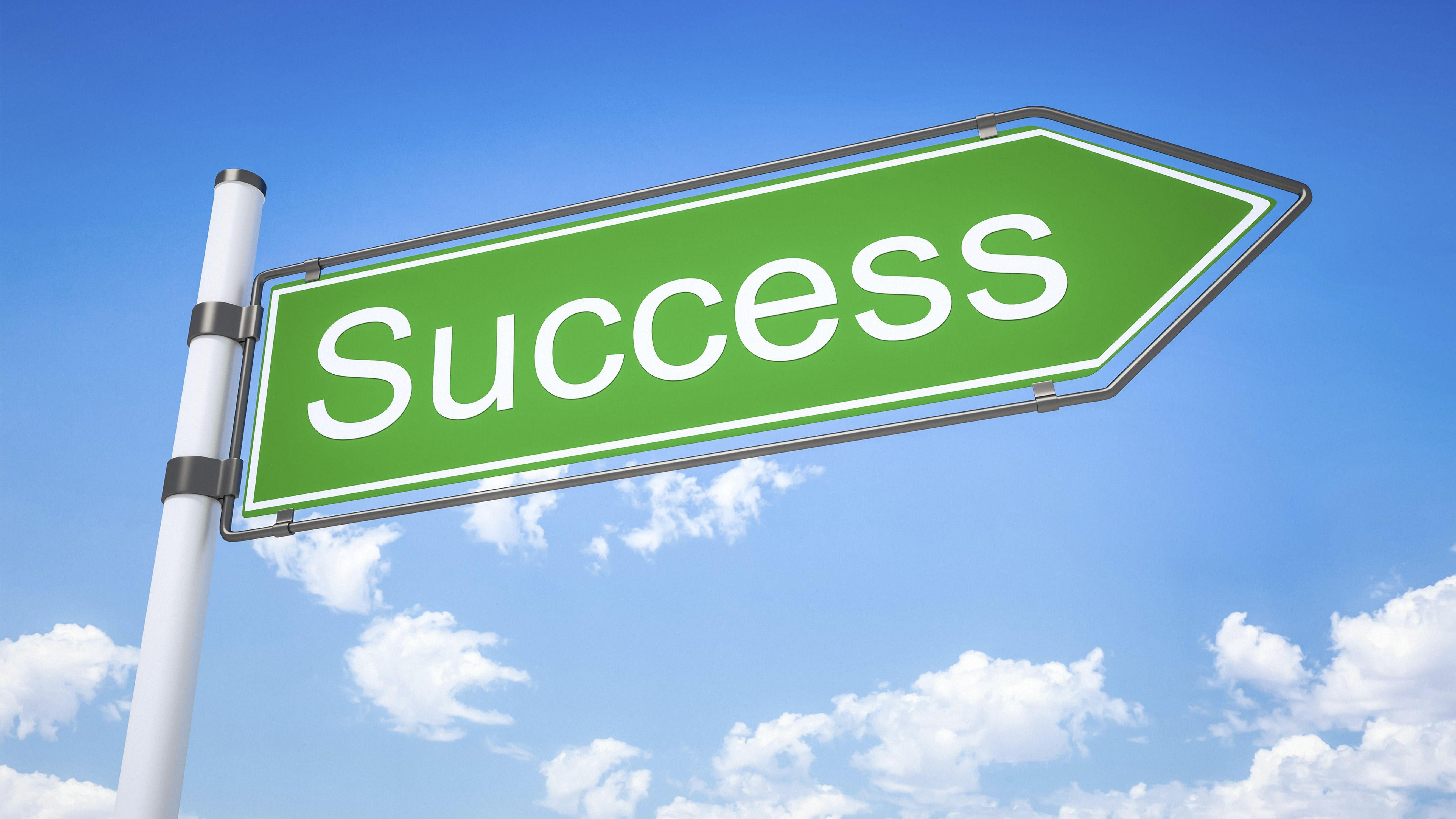 """Schild mit der Aufschrift """"Success"""""""