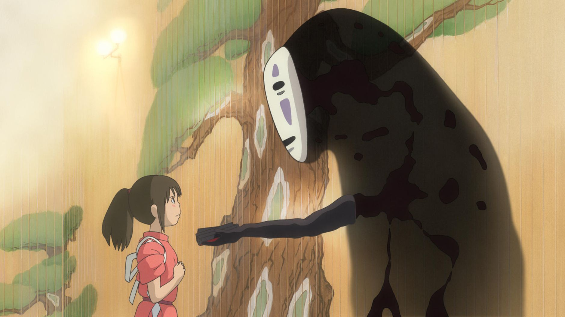 """Chihiro und das Gespenst Ohngesicht aus """"Chihiros Reise ins Zauberland"""" von Hayao Miyazaki"""