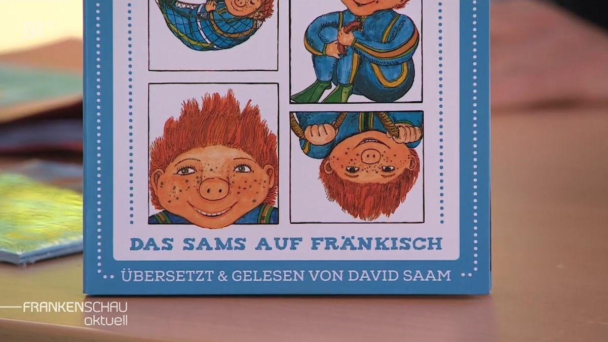 """""""Sams auf Fränkisch"""" ist auf der CD zu lesen, auf der mehrere Fotos des kleinen Sams mit den roten Haaren abgebildet sind."""