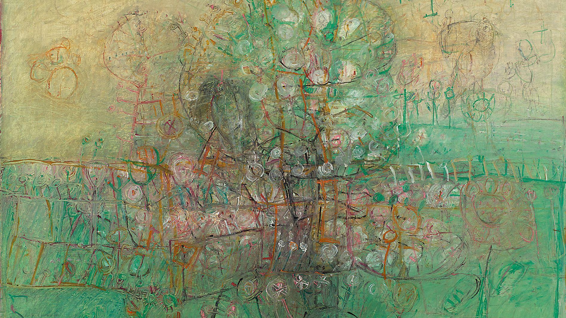 """Abstraktes Gemälde von Rudi Tröger, """"Ohne Titel (landschaftlich grün)"""", 1964: Rote, ockerfarbene, weiße und schwarze Strukturen vor grünem Hintergrund"""