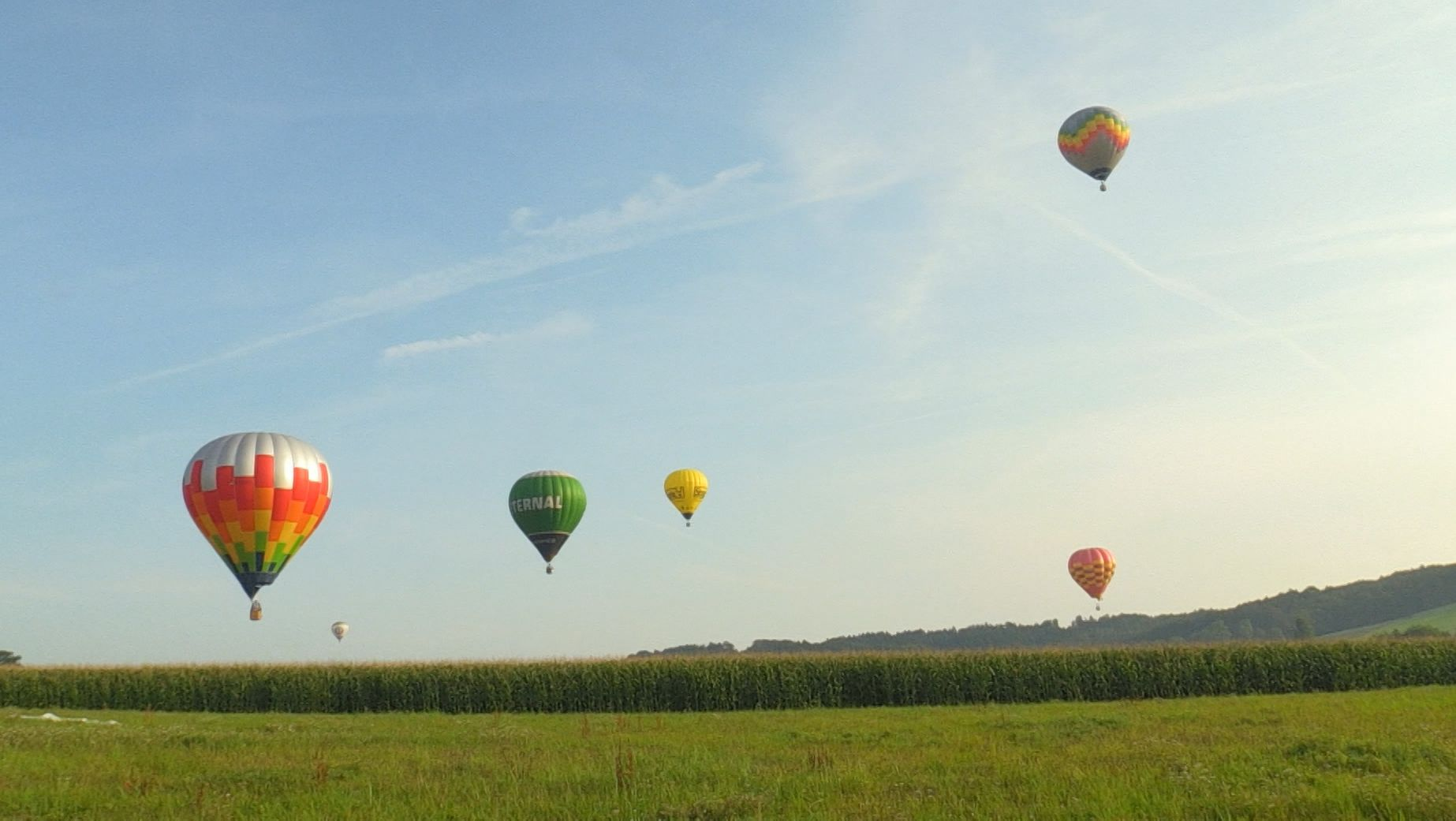 Mehrere bunte Heißluftballons am Himmel über Bad Griesbach