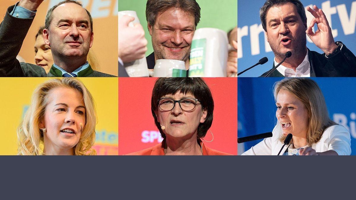 Redner beim Aschermittwoch 2020 - oben: Aiwanger (Freie Wähler), Habeck (Grüne), Söder (CSU), unten: Teuteberg (FDP), Esken (SPD), Miazga (AfD).