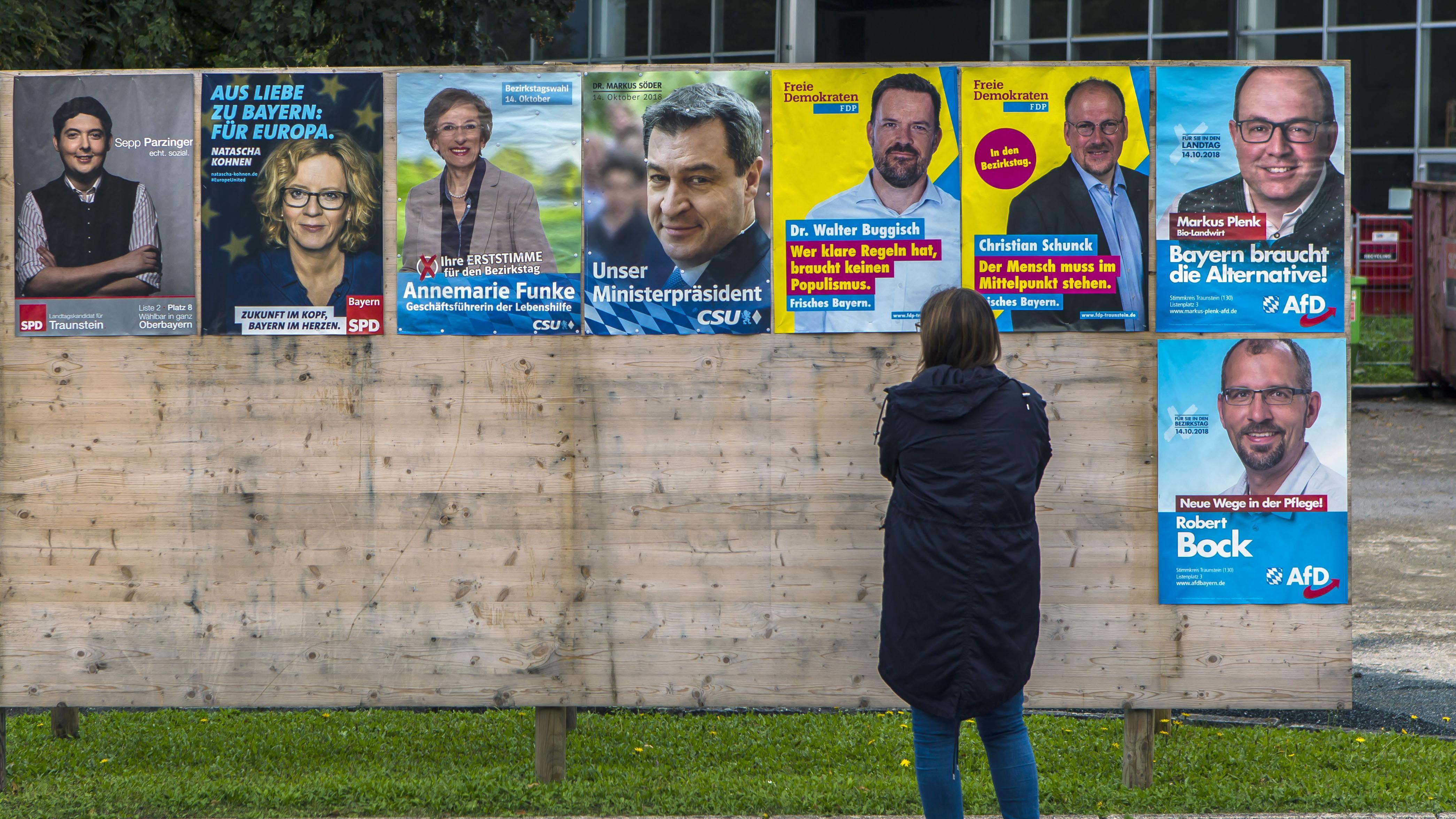 Frau betrachtet Wahlplakate