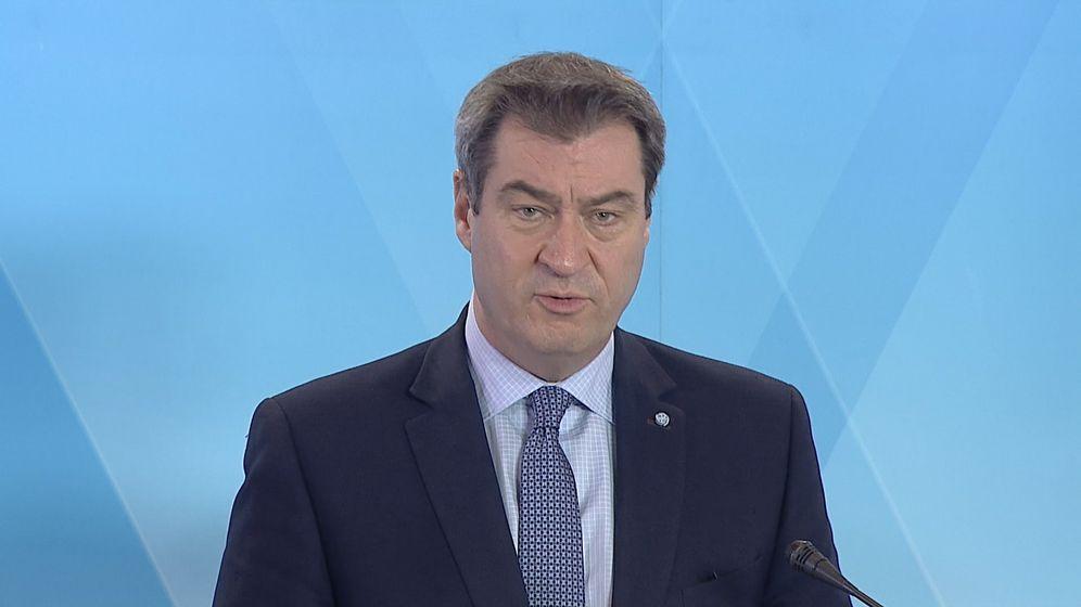 Markus Söder), Ministerpräsident von Bayern, spricht während einer Pressekonferenz in der bayerischen Staatskanzlei.   Bild:BR