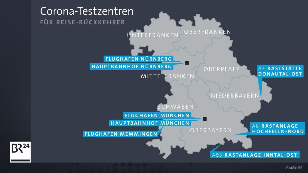An diesen Teststationen können sich Urlauber, die nach Bayern zurückreisen, kostenlos auf Corona testen lassen.