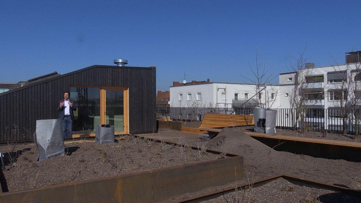 """Die Bewohner können auf der Dachterrasse """"Urban Gardening""""-   also einen städtischen Gartenbau - betreiben."""