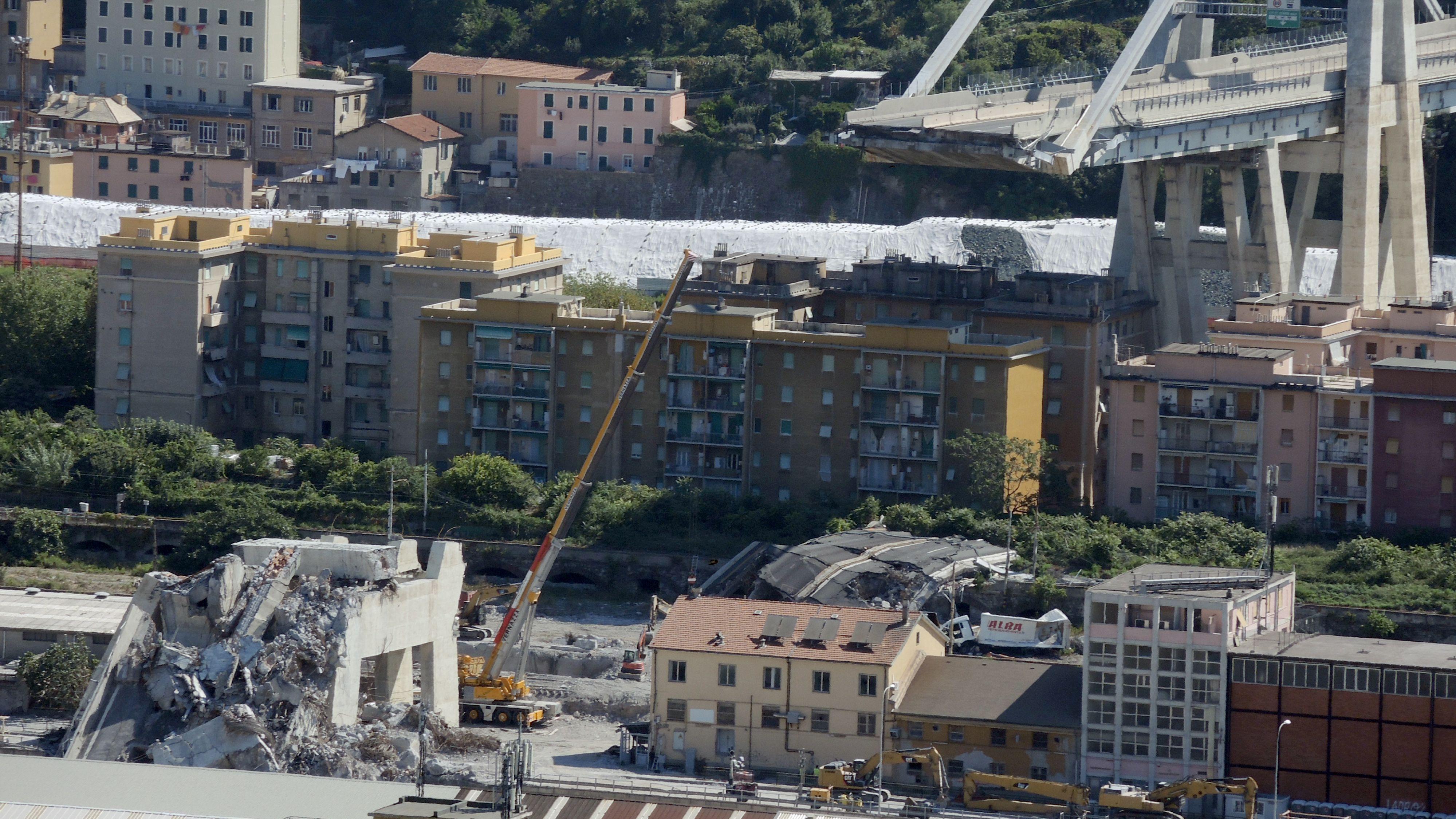 Die eingestürzte Ponte Morandi in Genua.