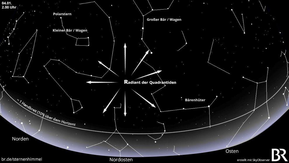 Sternkarte für den Meteorstrom der Quadrantiden am 4. Januar 2020