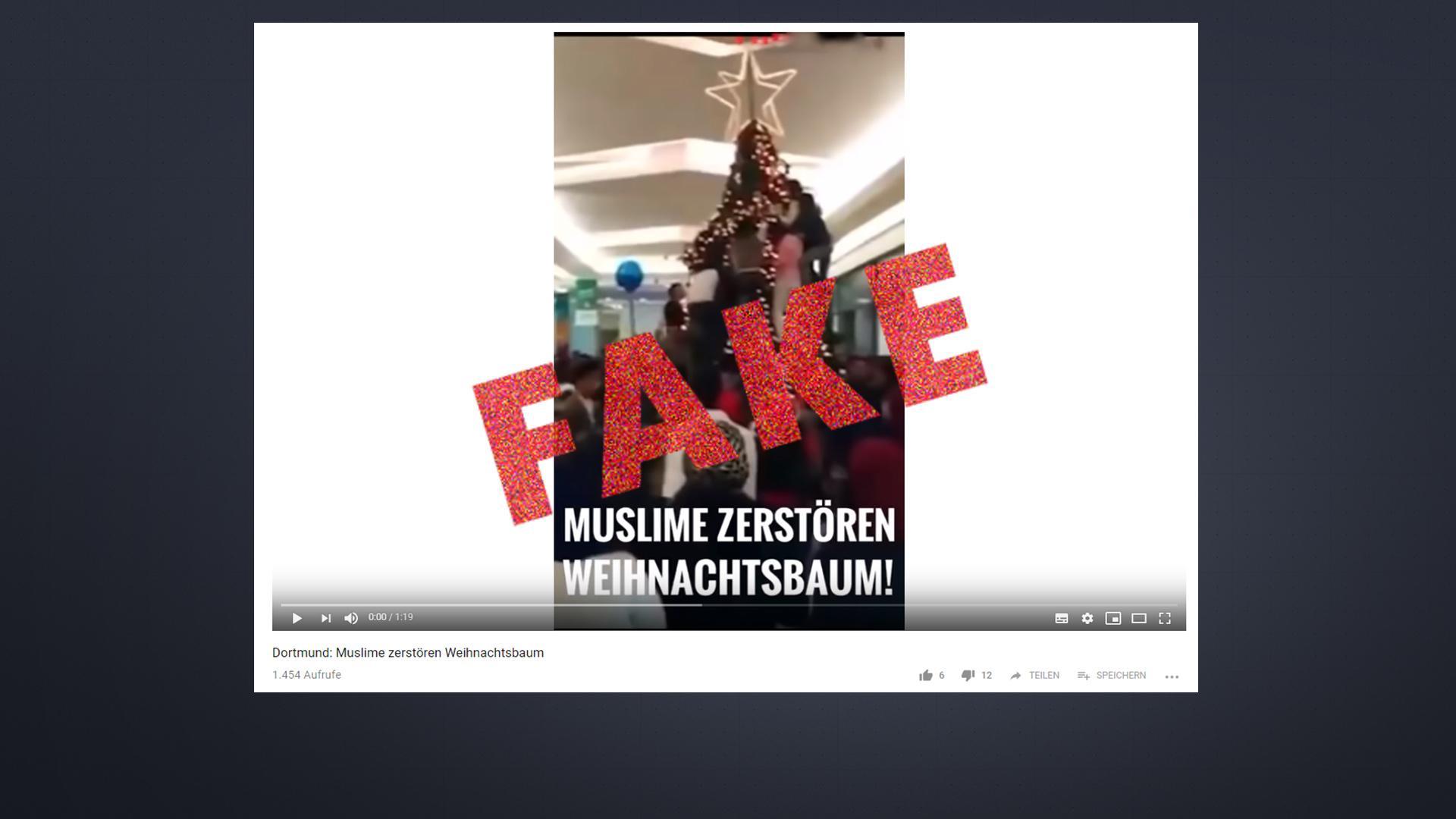 """Unter dem Titel """"Muslime zerstören Weihnachtsbaum"""" verbreitet sich das Fake-Video in diesen Tagen rasant."""