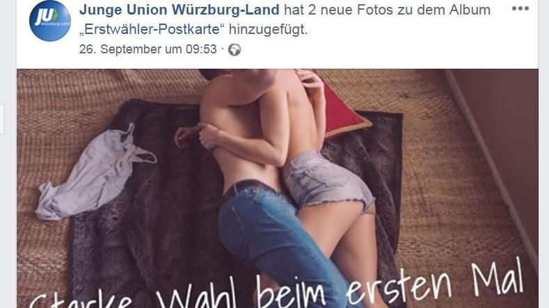Motiv der Erstwähler-Postkarte der JU Würzburg-Land auf deren Facebook-Seite (Ausschnitt)