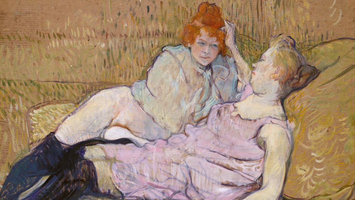 Gemälde, das zwei Frauen zeigt, die in Nachtwäsche auf einem Sofa lümmeln
