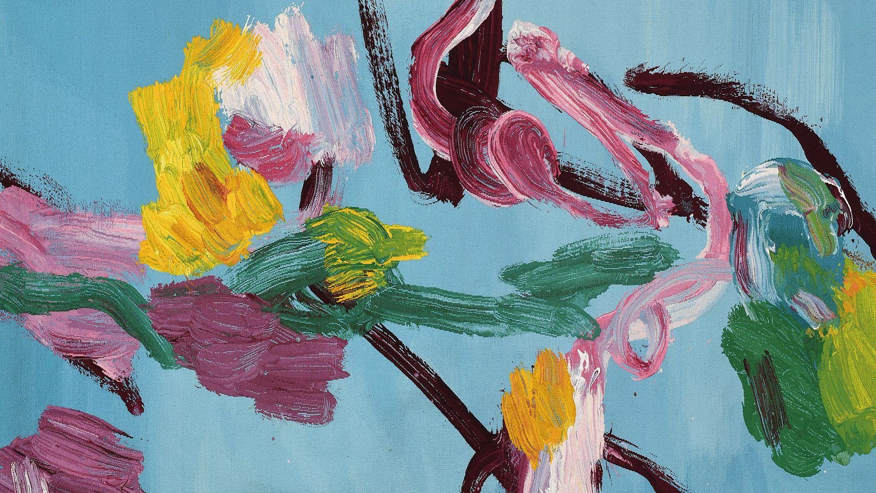 Wandteppich mit abstrahierten Blumen vor blauem Hintergrund von Alain Séchas
