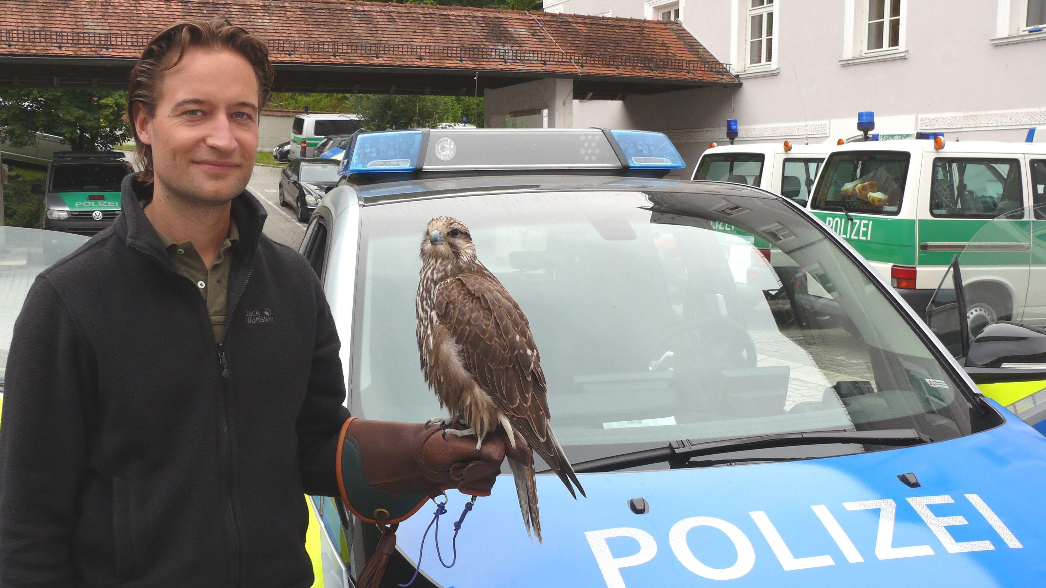 Falke Leila mit Besitzer nach erfolgreicher Polizeisuche
