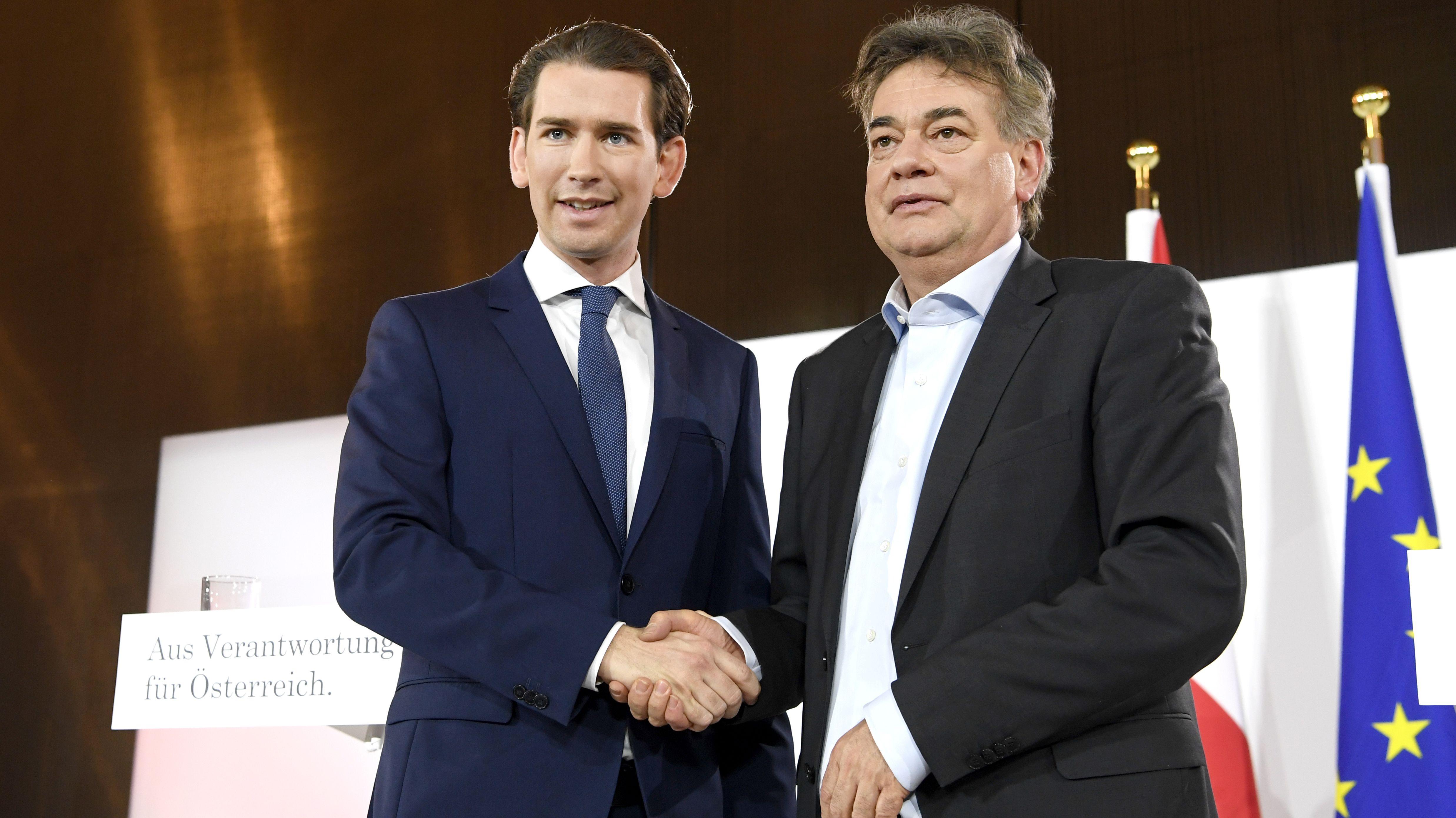 Sebastian Kurz, ÖVP (l.) und Werner Kogler, Parteichef der Grünen, haben am Donnerstag in Wien ihr Regierungsprogramm vorgestellt.