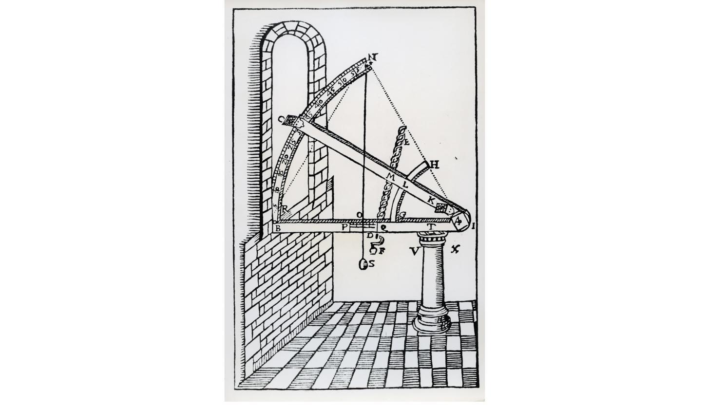 """Sextant aus Holz zur Sternenbeobachtung, Abbildung aus """"Astronomiae instaurate mechanica"""" von Tycho Brahe"""