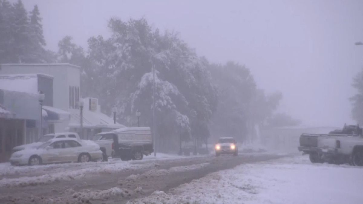 Wintereinbruch in Choteau, Montana / USA