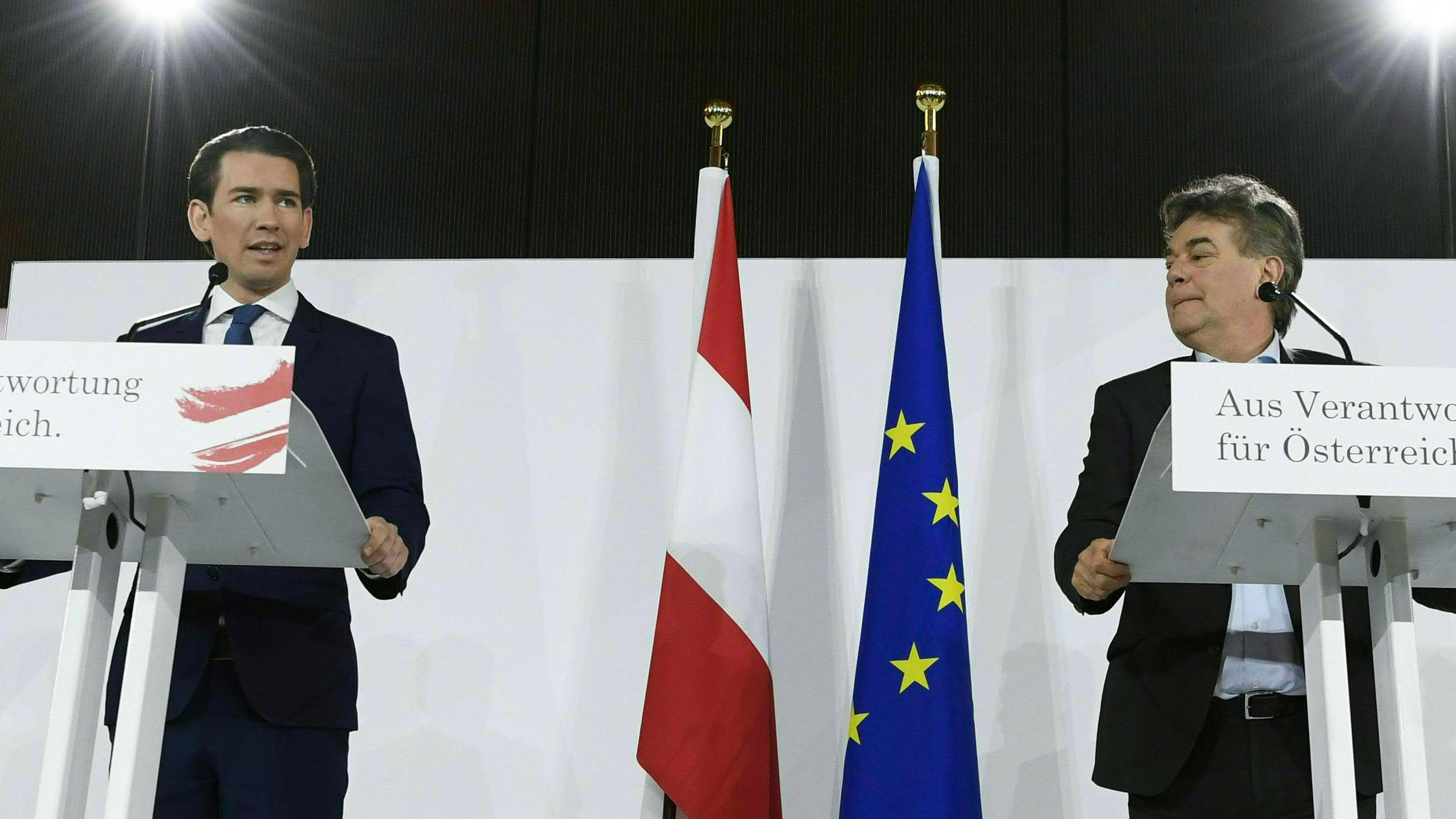 ÖVP und Grüne  in Österreich stellen Regierungsprogramm vor