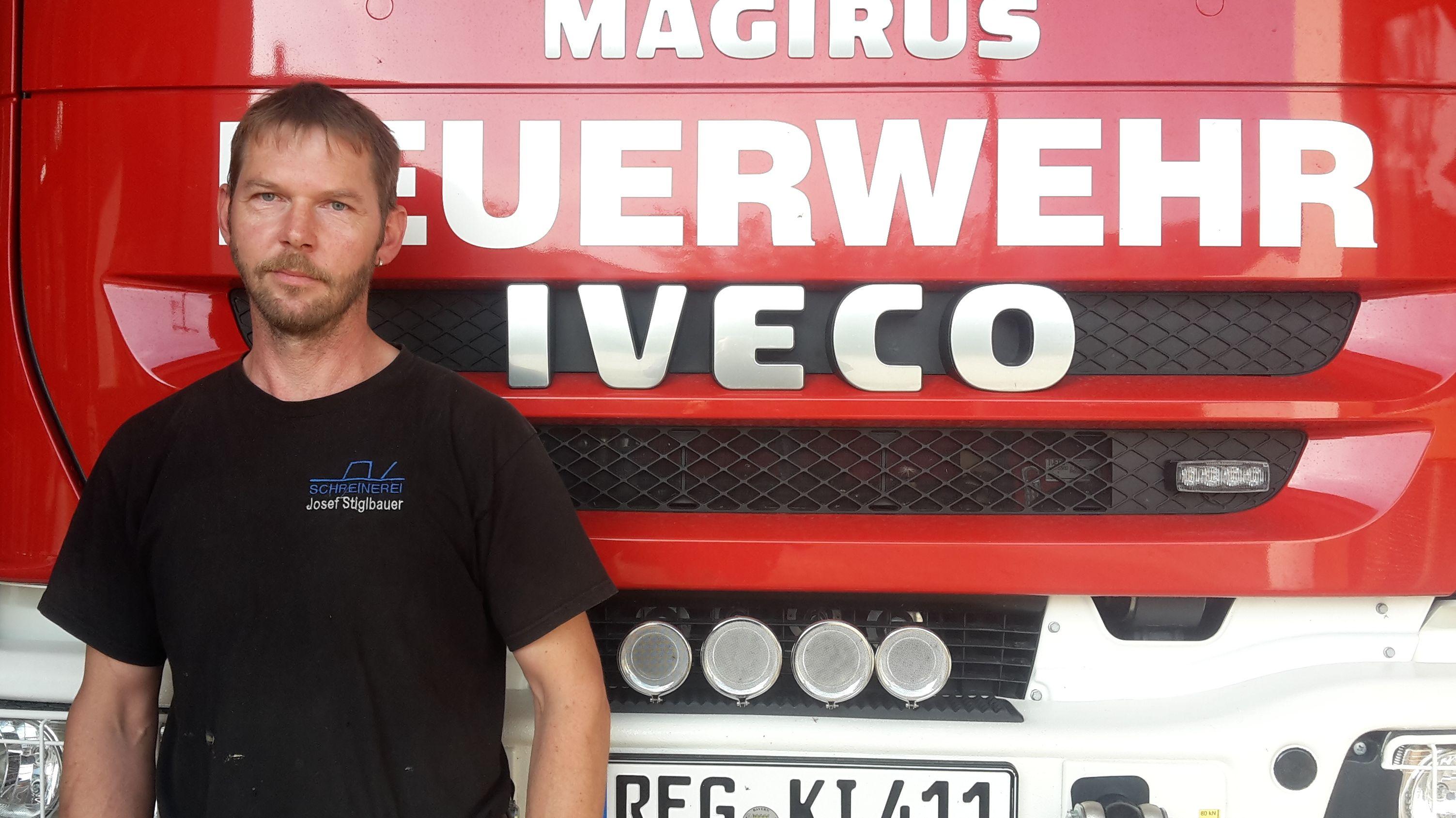 Josef Stiglbauer , Kommandant der Freiwilligen Feuerwehr Kirchaitnach
