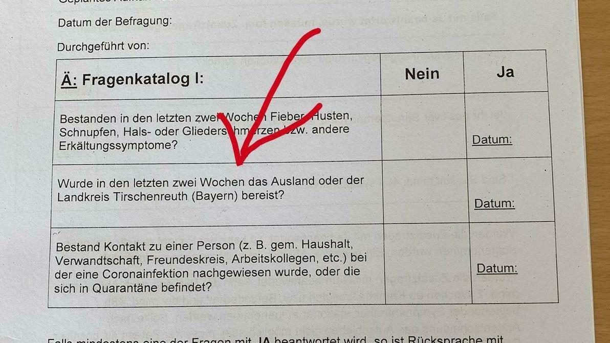 Ein Ausschnitt des Fragebogens des Bundeswehr-Krankenhauses Ulm.
